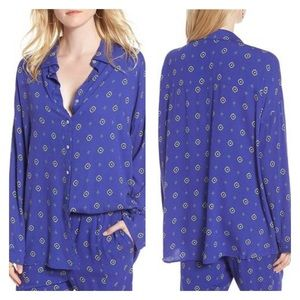 FREE PEOPLE Blue Medallion Button Front Blouse Top
